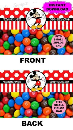 Mickey Mouse Candy Bag Topper  Minnie Mouse by kidspartypixel