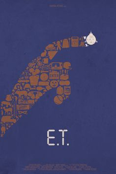 "Poster minimalista de ""E.T. The Extraterrestrial"" (1982) // Cool Movie Poster Art for THE MATRIX, E.T., BATMAN, and More - News - GeekTyrant"
