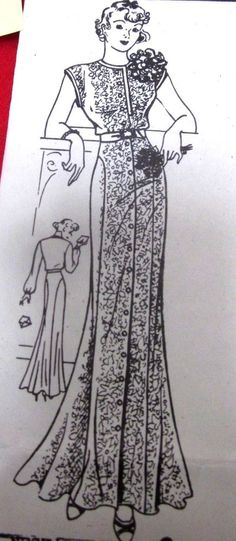 Vintage 1935 Ladies Pattern EVENING DRESS GOWN Front-closing Unused Size 18 #12
