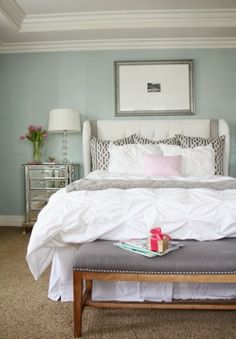Nail head detail on a pretty gray bench adds a fun touch to our master bedroom. #HomeGoodsHappy #sponsored