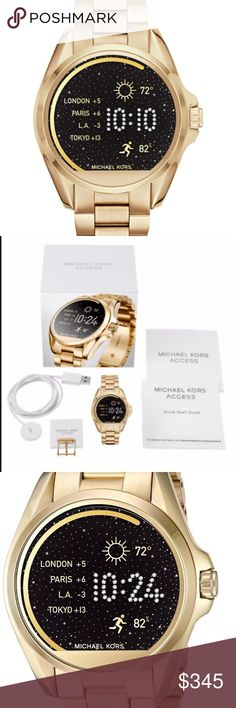 Michael Kors Unisex Gold Smart Watch MKT5001 Activity Tracker: Yes Battery Life: Estimated all day Case Material: Stainless Steel Compatibility: Android Devices 4.3+, iOS 8+ / iPhone 5 +, iOS 7+ / iPhone 4s + Connectivity: Bluetooth Smart Enabled / 4.1 Low Energy, Wi-Fi 802.11 b/g/n Heart Rate: No Sleep Monitor: No Interchangeable: Yes Notifications: Yes Michael Kors Accessories Watches #goldratetoday