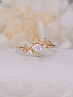Vintage moonstone rose gold woman Diamond Cluster ring Unique engagement ring leaf wedding women Bridal Promise Anniversary Gift All our diamonds are 100% natural and not clarity enhanced or treated in anyway. We only use conflict-free diamonds and gemstones. Description: - Diamond ring - Natural
