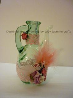 Designed and handmade by Lady Jasmine Crafts A vinegar bottle decorative piece