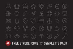 A free sample pack including 40 icons from Symplett, a premium icon pack including 300+ elegant stroke vector icons by Bogdan Rosu.