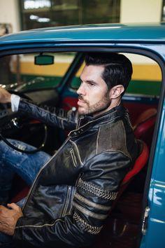 RockDenim sin egen unike produksjon av skinnjakke Power Rider skinnjakke. Alpha Male, Leather Jacket, Photoshoot, Beige, Inspiration, Outfits, Clothes, Fashion, Gera