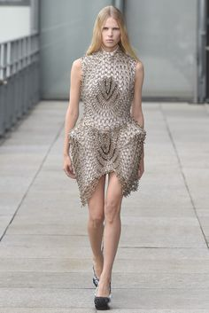 Futuristic Fashion Armour - intricately embellished dress with sculptural shape; wearable art // Iris van Herpen SS15