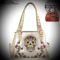 Sassy Montana West Sugar Skull Concealed Carry Beige Handbag