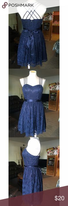 Beautiful dress Navy blue , lace , heart shape, skater cross beautiful back dress , WINDSOR Dresses Mini