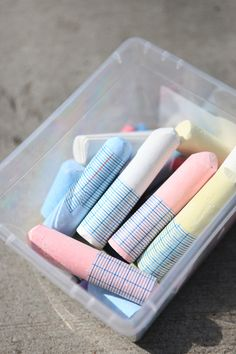 We like to put washi tape on our sidewalk chalk so that fingers don't get as dusty. (Janine Vangool, UPPERCASE magazine.)