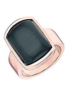 Ring, Tamaris.  Aus Edelstahl, roségoldfarben IP-beschichtet, mit schwarzem Katzenauge (synth.), Ringkopf ca. 14 mm breit und ca. 20 mm lang.  Lieferung in einer TAMARIS-Verpackung....