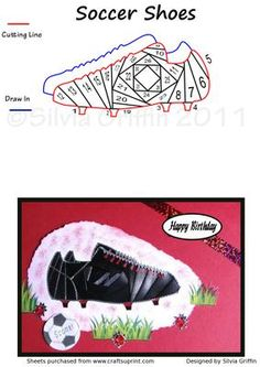 Soccer Shoes  on Craftsuprint designed by Silvia Griffin - Lovely pattern for all who love soccer male or female. Hope you will have much enjoyment making it .  - Now available for download!