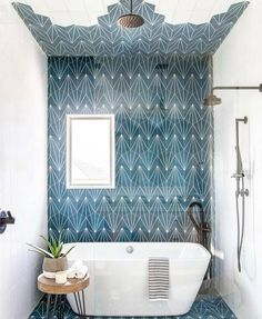 This Kids' Is So Chic That Even Adults Will Be Jealous, boho bathroom with bold tile, bole blue geometric tile in bathroom design with modern slipper tub, modern free standing bathtub in bold modern bathroom, fun kid bathroom design with blue tile Bad Inspiration, Bathroom Inspiration, Style At Home, Bathroom Interior Design, Restroom Design, Beautiful Bathrooms, Design Case, Pop Design, Sketch Design