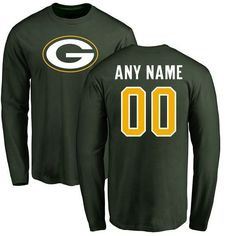 4caaaf3e186 Men Green Bay Packers NFL Pro Line Green Any Name and Number Logo Custom  Long Sleeve