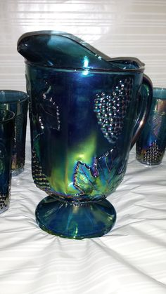 Carnival Glass Indiana Glass Company Pitcher Harvest Blue . Water or ice tea Beautiful colors of Blue green. Grape Pattern