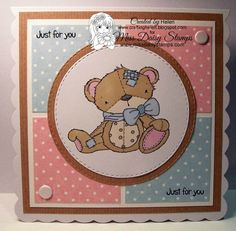 Patches Teddy - Jennifer Nilsson Art http://www.missdaisystamps.com/product/patches-teddy-jennifer-nilsson-art/ on card sample designed by Helen www.craftinghelen.blogspot.com