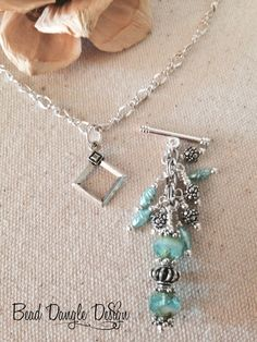 Just A Little Turquoise Beaded Dangle Necklace. One of many Beaded Dangles Available.