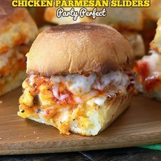 Chicken Parmesan Sliders - can also use breaded chicken patties