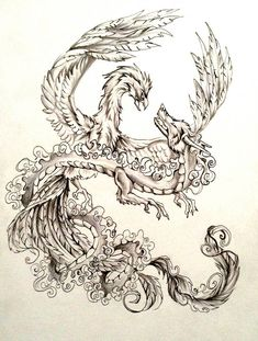 I wanted to do a dragon and phoenix like this for a while now. Dragon and Phoenix Tattoo Design Phoenix Tattoo Sleeve, Tattoo Dragon And Phoenix, Dragon Tattoo For Women, Phoenix Art, Sleeve Tattoos, Angel Tattoo Designs, Dragon Tattoo Designs, Trendy Tattoos, Cool Tattoos