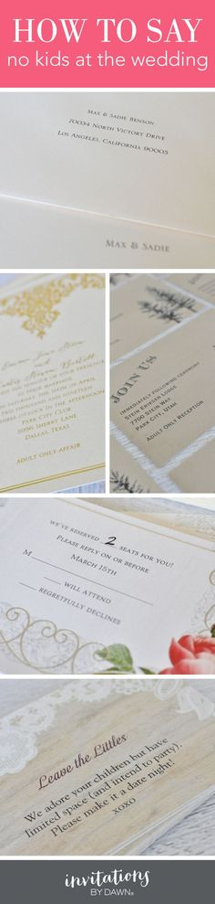 how to say no kids at the wedding - Adults Only Wedding Invitation Wording