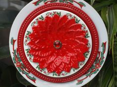 Glass Plate Flower Christmas  limited edition by ARTfulSalvage, $40.00