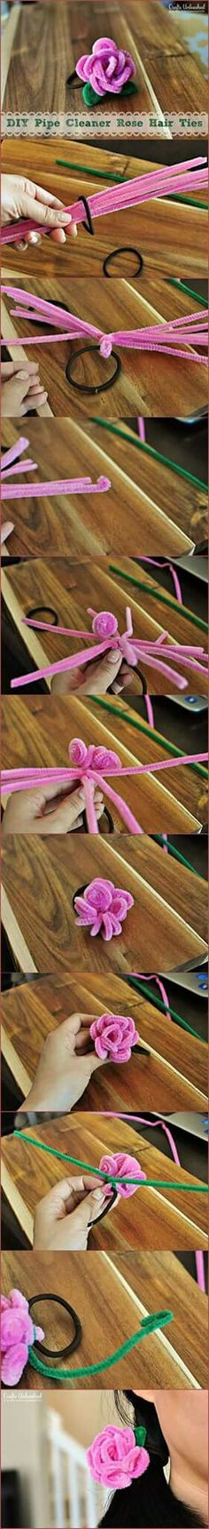 Discover thousands of images about DIY Pipe Cleaner Rose Hair Ties by beryl Cute Crafts, Crafts To Do, Crafts For Kids, Arts And Crafts, Diy Crafts, Flower Crafts, Diy Flowers, Fabric Flowers, Pipe Cleaner Art