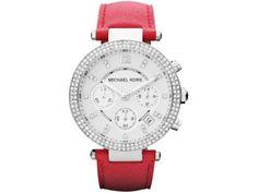 Michael Kors Watch, Women's Chronograph Parker Orange Leather Strap - All Watches - Jewelry & Watches - Macy's Hermes, Furla, Neiman Marcus, Bracelet Cuir, Mk Bags, Orange Leather, Black Leather, Unisex, Handbags Michael Kors