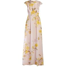Giambattista Valli Floral-print silk-georgette gown (91,330 INR) ❤ liked on Polyvore featuring dresses, gowns, floral dresses, floral evening gown, pink dress, floor length evening gown and floral ball gown