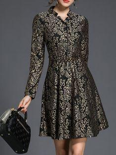 Black-gold Long Sleeve Stand Collar Jacquard Mini Dress