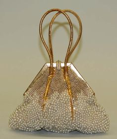 Gold leather and pearl bead evening bag