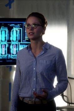 Kara Danvers / Supergirl wearing  J. Crew Boy Shirt in Skinny Stripe, L.A. Eyeworks Dap Frames in Tortoise
