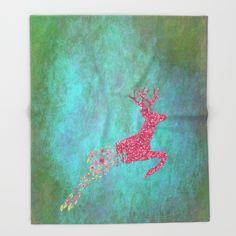 Enchanted deer in PINK I Throw Blanket