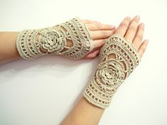 Gloves, Wrist warmer, Winter gloves, holiday gifts, 2013 fashion, Beige Lace Crochet Fingerless. $22.00, via Etsy.