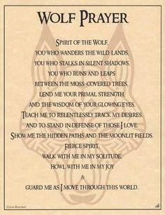 "This parchment poster offers a shamanic prayer to the spirit of the wolf, for guidance, strength, and protection throughout your journey in the wilds of life. 8 12"" x 11"""