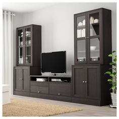 The storage combination with TV bench hides unruly cables and keeps them organized with the built-in cable management. Solid wood with a brushed surface gives the furniture a timeless and genuine feel. At Home Furniture Store, Modern Home Furniture, Scandinavian Furniture, Affordable Furniture, Furniture Design, Cheap Furniture, Furniture Outlet, Glass Cabinet Doors, Glass Doors