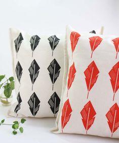 Modern throw pillow covers hand printed on ecru by Netamente
