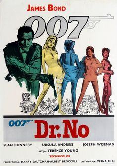 Unknown - Original Vintage James Bond Movie Poster For Dr No Starring Sean Connery As 007 James Bond Movie Posters, James Bond Movies, Cinema Posters, Cinema Cinema, Old Movies, Vintage Movies, Vintage Posters, Casino Royale, James Bond Cars