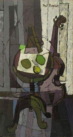 Mel Fowler (1921-1987). Still Life, Cello, oil on canvas, 41 x 22 in: