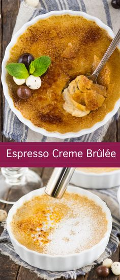 Your guide to making easy espresso creme brûlée at home! Coffee creme brûlée is a decedent dessert that's actually easy to make with 5 ingredients. Plus learn about what ramekins to use and how to make creme brûlée without a torch. Coffee Creme Brulee, White Chocolate Creme Brulee, Cream Brulee, Köstliche Desserts, Best Dessert Recipes, Coffee Recipes, Dessert Simple, Creme Brulee Cheesecake, Creme Brulee Cake