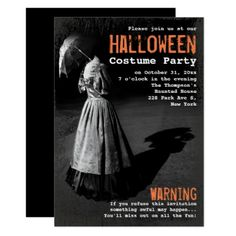 Spooky Lady without Head Unique Halloween Party Card - invitations custom unique diy personalize occasions