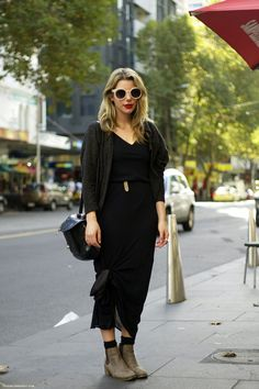 Tea // Melbourne  Dressed in Melbournes statement black with a bold, red lip in her mothers vintage pieces.