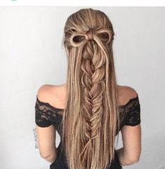 Half up do, braid and bow long hair style