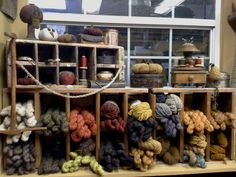 i love the look of this yarn storage system. it gives off a feel of a simpler time and while i must admit i love the brighter colours you can see today i will always ALWAYS have a soft spot for anything vintage