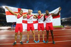Silver medalists Adam Gemili, Harry Aikines-Aryeetey, Richard Kilty and Danny Talbot of England