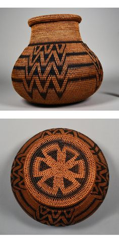 Africa | Lidded basket from Zambia | Raffia; Dark and light coloring. Dark lines are straight then have large zigzag. Rounded. Wide neck, circular lid.