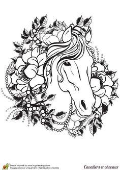 Coloriage cavalier et chevaux, un tatouage de cheval - Hugolescargot.com