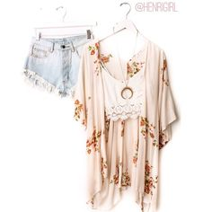 Loving this #ootd, floral kimono, crop top and high waisted shorts! Find it all at Henri Girl xoxo #henrigirl #hg #summer