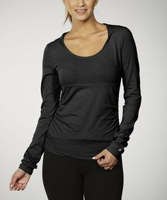 Hoodie with empire waist cut. Workout wear.  Another great find on #zulily! Black Tummy Control Ruched Hoodie #zulilyfinds