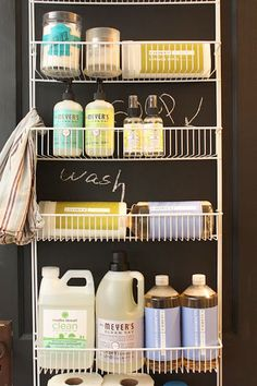 Make your doors do double duty. Try this storage opportunity on for size in the laundry, bath or kitchen.