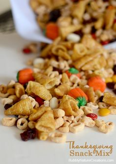 Thanksgiving Snack Mix!  Kids will have fun spelling out what they are thankful for with the alphabits letters.  So cute!
