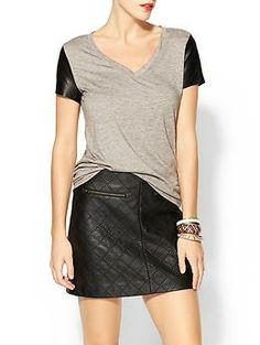 Tinley Road Brooke Vegan Leather Sleeve Tee | Piperlime - Looking for stuff to pair with my adorable faux-leather quilted A-Line black skirt...